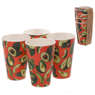 Avocado Design Eco Friendly Bamboo Set of 4 Cups