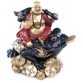 Decorative Chinese Buddha on Coins and Wealth Toad