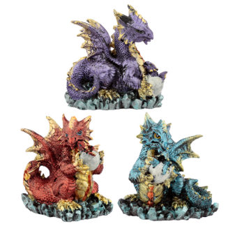 Mother and Hatching Baby Elements Dragon Figurine