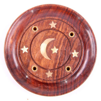 Decorative Sheesham Wood Round Ashcatcher Moon and Stars