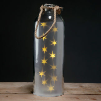 Decorative LED Glass Light Jar - White Stars Large with Rope