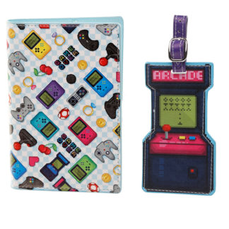 Fun Retro Gaming Game Over Luggage Tag and Passport Cover Set