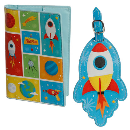 Fun Novelty Space Cadet Luggage Tag and Passport Cover Set