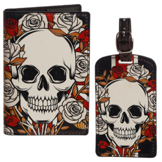 Fun Novelty Skulls  and  Roses Luggage Tag and Passport Cover Set