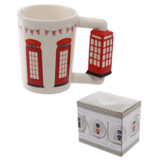 Novelty Ceramic Shaped Handle Telephone Box Mug