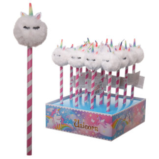 Cute Unicorn Pencil with Fluffy Topper