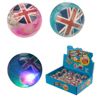 Fun Kids Flashing Bouncy Union Flag Glitter Ball