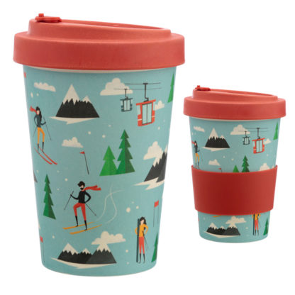 Bamboo Composite Peak Season Ski Screw Top Travel Mug