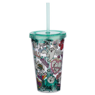 Simon's Cat Pawsome Design Double Walled Cup with Lid and Straw