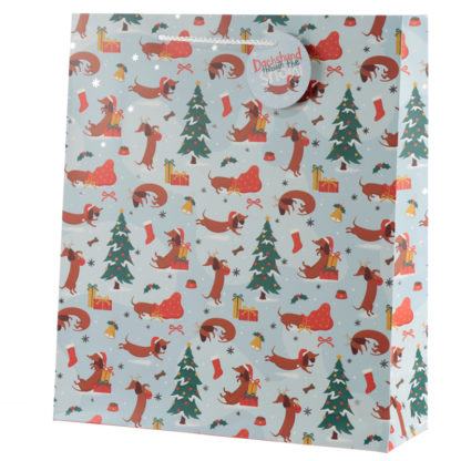 Dachshund Through the Snow Extra Large Christmas Gift Bag