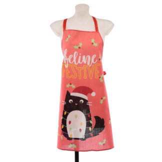 Christmas Cat Festive Feline Poly Cotton Apron