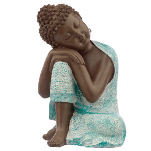 Decorative Turquoise  and  Brown Buddha Figurine - Contemplation