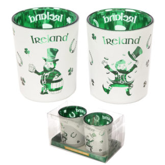 Glass Candleholder Set of 2 - Ireland Lucky Leprechaun