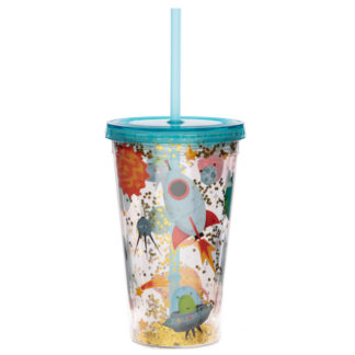 Retro Space Cadet Double Walled Cup with Lid and Straw