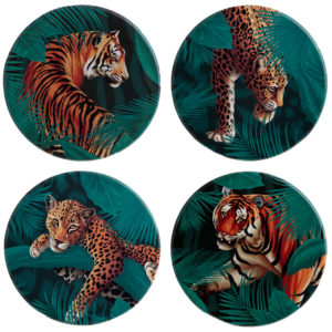 Set of 4 Novelty Coasters - Big Cat Spots and Stripes