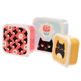 Cute Feline Fine Cat Set of 3 Plastic Lunch Boxes (M/L/XL)