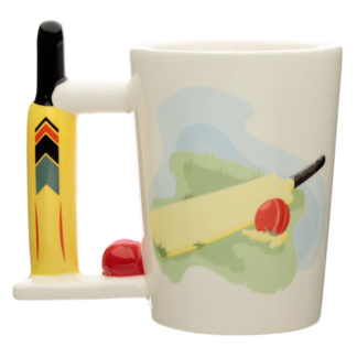 Ceramic Cricket Bat Shaped Handle Mug