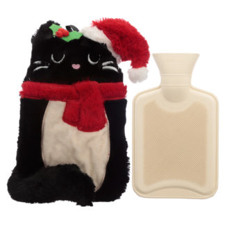Cute Christmas Feline Festive Cat 1L Hot Water Bottle and Cover