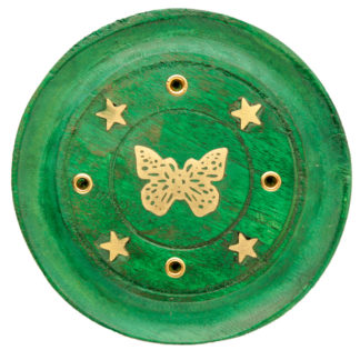 Decorative Butterfly Wooden Green Incense Burner Ash Catcher