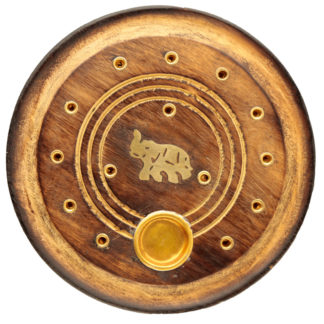Decorative Round Elephant Wooden Incense Burner Ash Catcher