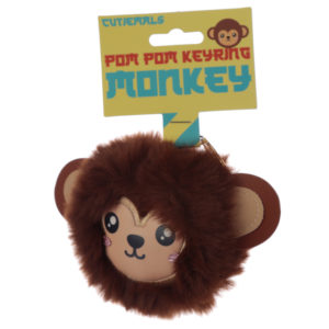 Fun Collectable Pom Pom Keyring - Cutiemals Monkey