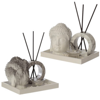 Eden Aroma Set - Buddha Head Tea Light Holder  and  Reed Holder