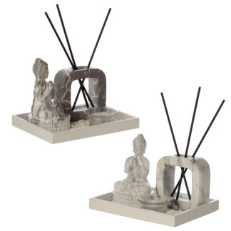 Eden Aroma Set Meditating Buddha Tea Light Holder  and  Reed Holder
