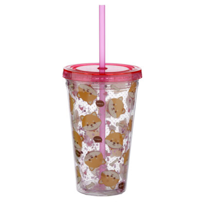 Shiba Inu Dog Double Walled Reusable Cup with Lid and Straw