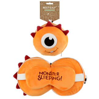 Monstarz Monster Orange Relaxeazzz Plush Round Travel Pillow  and  Eye Mask Set