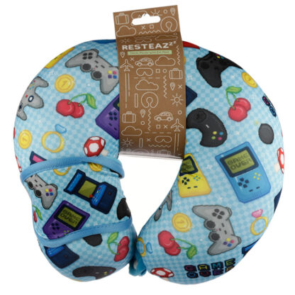 Retro Gaming Game Over Relaxeazzz Travel Pillow  and  Eye Mask Set
