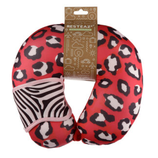 Animal Print Wild Life Relaxeazzz Travel Pillow  and  Eye Mask Set