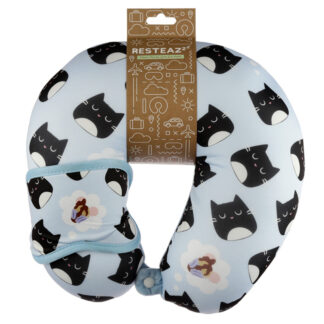 Feline Fine Cat Relaxeazzz Travel Pillow  and  Eye Mask Set