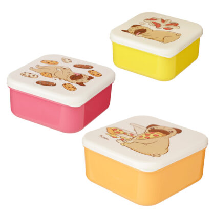 Pug Mopps Set of 3 Reusable BPA Free Plastic Lunch Boxes