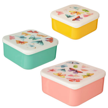 Butterfly House Set of 3 Reusable BPA Free Plastic Lunch Boxes (M/L/XL)