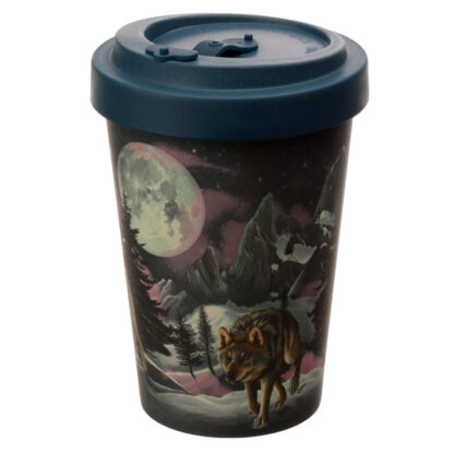 Bamboo Composite Protector of the North Wolf Reusable Screw Top Travel Mug