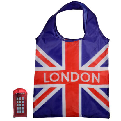 Handy Fold Up London Icons Red Telephone Box Shopping Bag with Holder