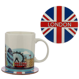 Porcelain Mug and Coaster Gift Set - London Icons