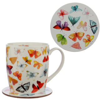 Porcelain Mug and Coaster Gift Set - Butterfly House