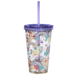 Fun Unicorn Design Glitter Double Walled Cup with Lid and Straw