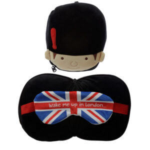 Cutiemals Guardsman Relaxeazzz Plush Round Travel Pillow  and  Eye Mask Set