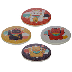 Set of 4 Novelty Coasters - Lucky Cat Maneki Neko