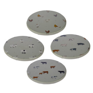 Set of 4 Novelty Coasters - Willow Farm