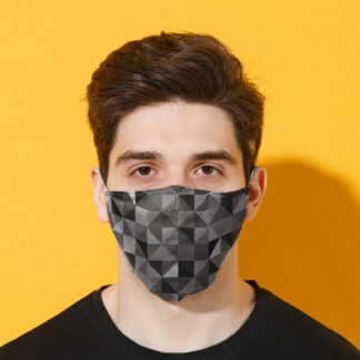 Geometric Black  and  Grey Triangles Print Reusable Face Covering - Large
