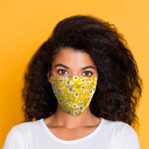 Yellow Floral Reusable Face Covering - Large