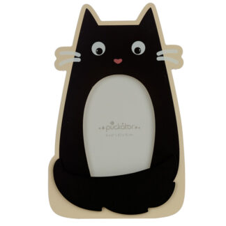 6 x 4 Wooden Photo Frame - Shaped Feline Fine Black Cat