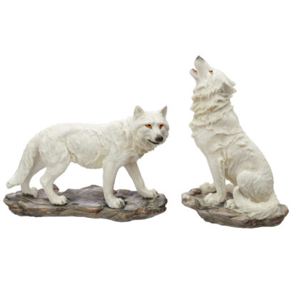 White Ghost Walker Protector of the North Wolf Figurine