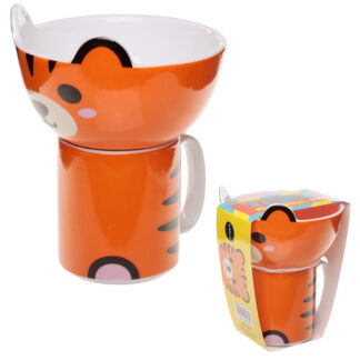 Children's Porcelain Mug and Bowl Set - Cute Tiger