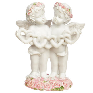 Collectable Cherub Pair with Heart Chain