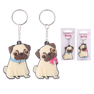 Fun PVC Keyring - Cute Pug Design