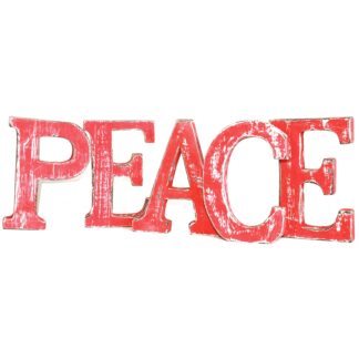 Shabby Chic Letters Red Wash  - PEACE